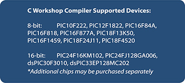 C Workshop Compiler Devices Supported