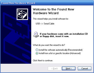 Windows XP - New Hardware Wizard