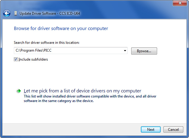Windows 7 - Location to Search for Driver to Install