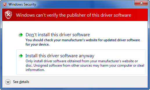 Windows 7 - Security Warning