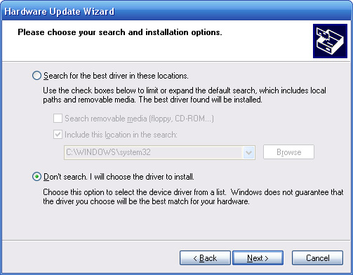 Windows XP - Location to Look for Driver