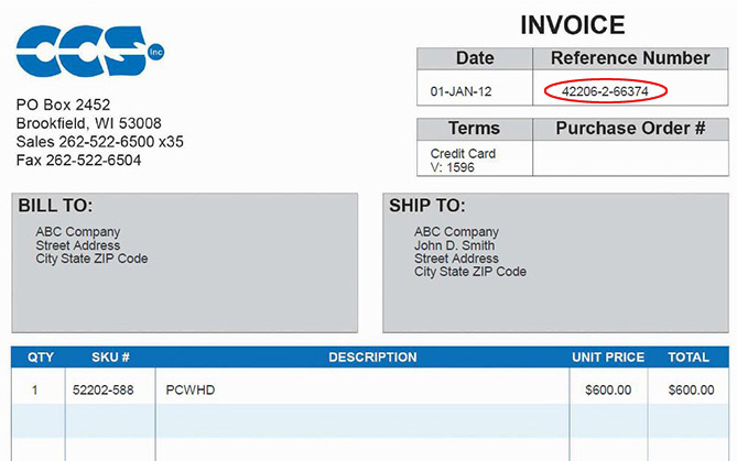 CCS Inc Help Finding Your Reference Number - Invoice reference